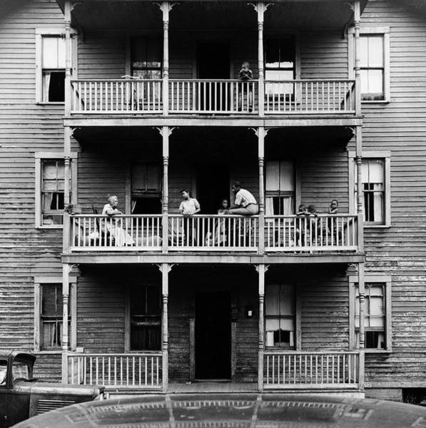 Family Photograph - Family On Balcony Of Apartment Building by Gordon Parks
