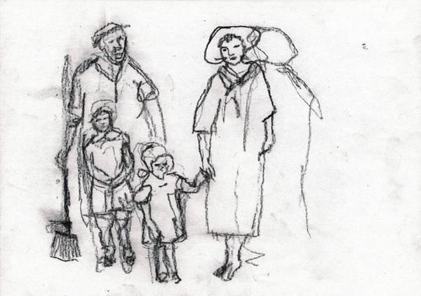 Drawing - Family Outing by Artist Dot
