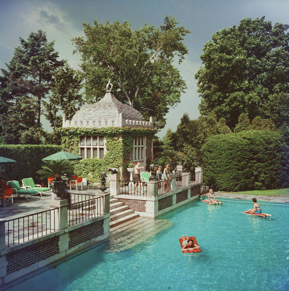 Square Photograph - Family Pool by Slim Aarons