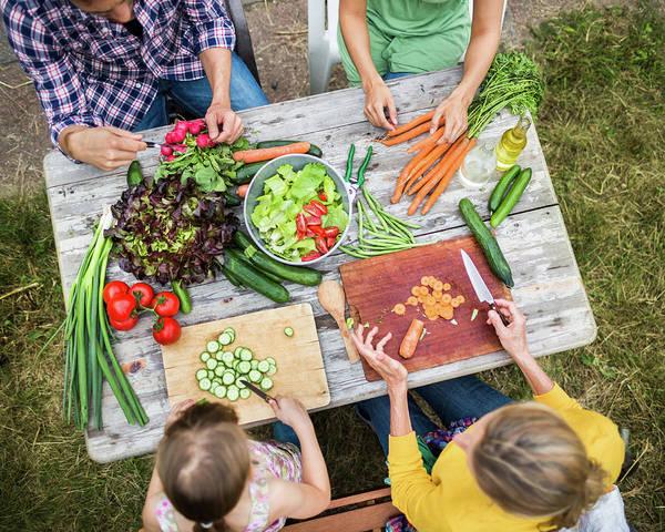 Scallion Photograph - Family Preparing Salad In Garden by Hinterhaus Productions