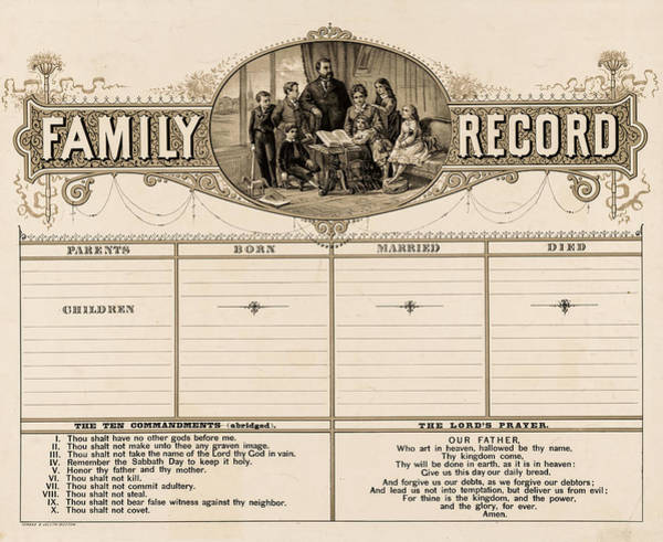Wall Art - Painting - Family Record by Forbes Company