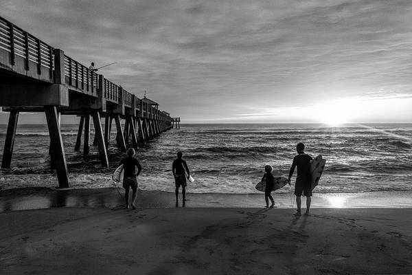 Wall Art - Photograph - Family Surfing In Black And White by Debra and Dave Vanderlaan