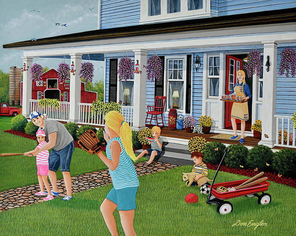 Porch Painting - Family Time by Don Engler