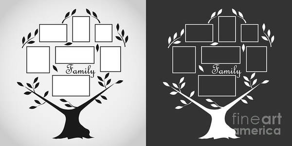 Border Wall Art - Digital Art - Family Tree, Family Tree Icon. Flat by Mr. Luck