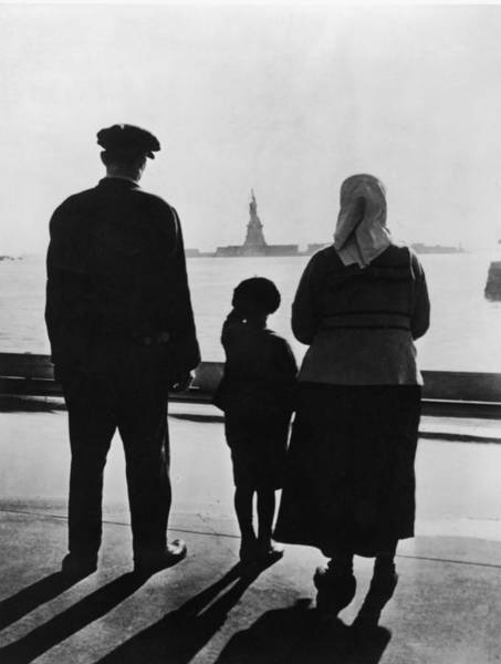Human Interest Photograph - Family Views Statue Of Liberty From by Fpg