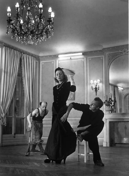 Photograph - Famous Couturier Jacques Fath Adjusting by Nina Leen