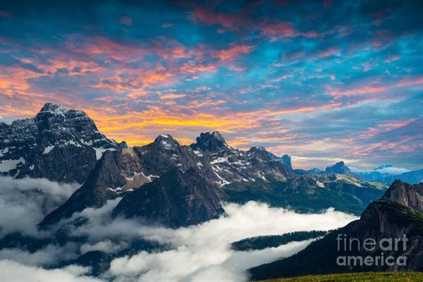 Beautiful Sunrise Photograph - Famous Italian National Park Tre Cime by Scorpp