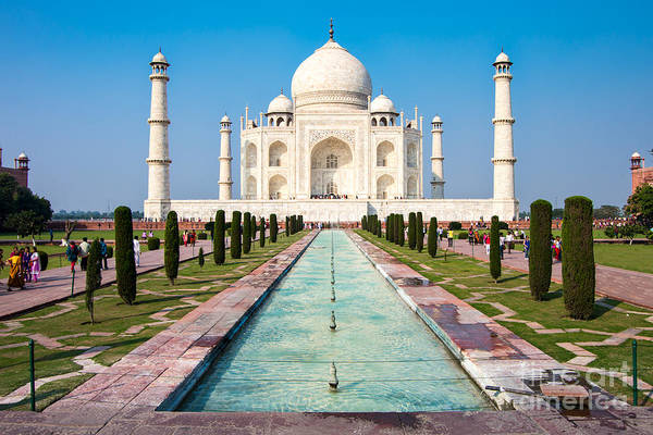 Landmark Building Photograph - Famous Taj Mahal Mausoleum In In Bright by Mikhail Varentsov