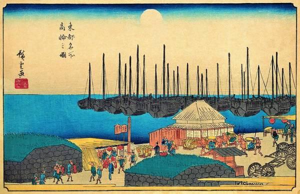 Transporter Wall Art - Painting - Famous Views Of Edo - Takanawa by Utagawa Hiroshige