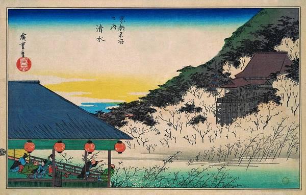 Japanese Shrine Painting - Famous Views Of Kyoto - Kiyomizu by Utagawa Hiroshige