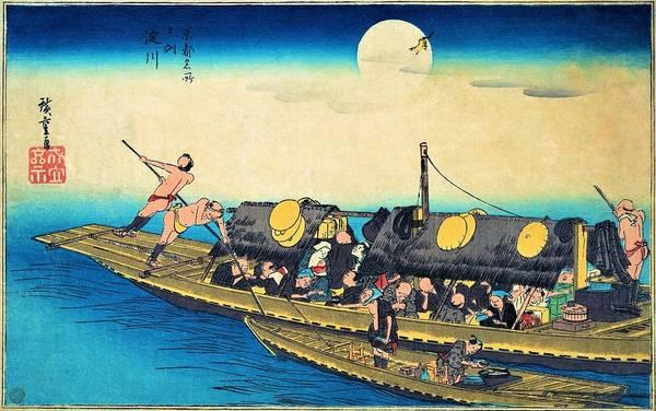 Transporter Wall Art - Painting - Famous Views Of Kyoto - Yodogawa by Utagawa Hiroshige