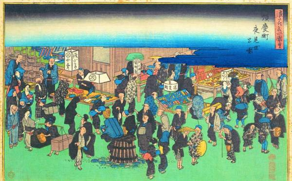 Wall Art - Painting - Famous Views Of Naniwa - Yomise In Junkei Town by Utagawa Hiroshige