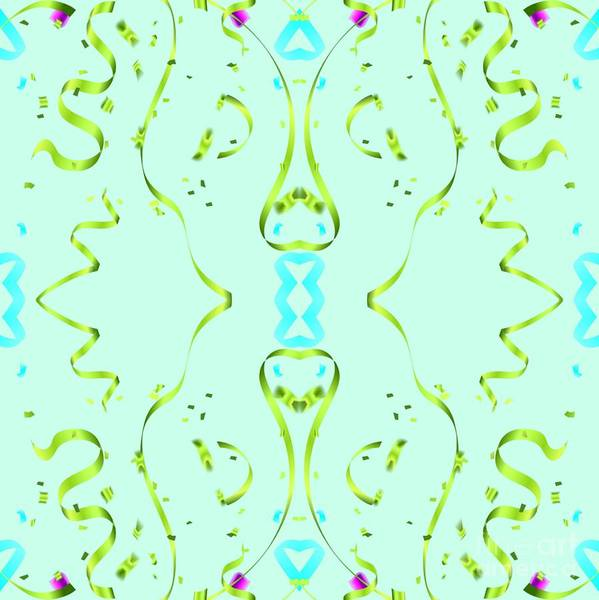 Digital Art - Fancy Aqua Ribbon Design by Rachel Hannah
