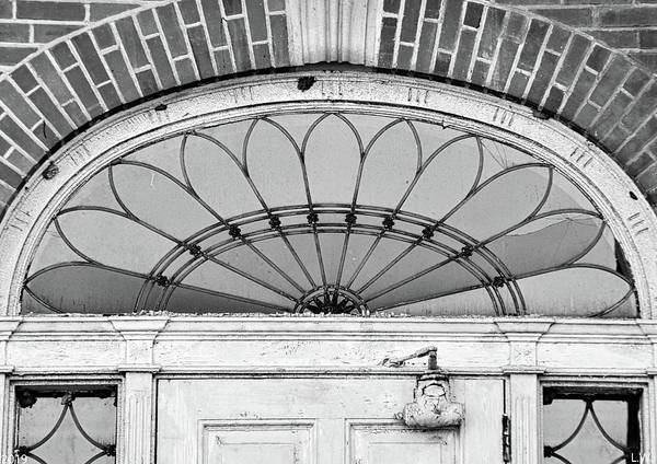 Photograph - Fanlight Transom Window Black And White by Lisa Wooten