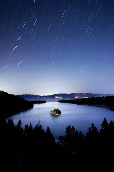 Lake Tahoe Photograph - Fannette Island Is Illuminated At Night by Rachid Dahnoun