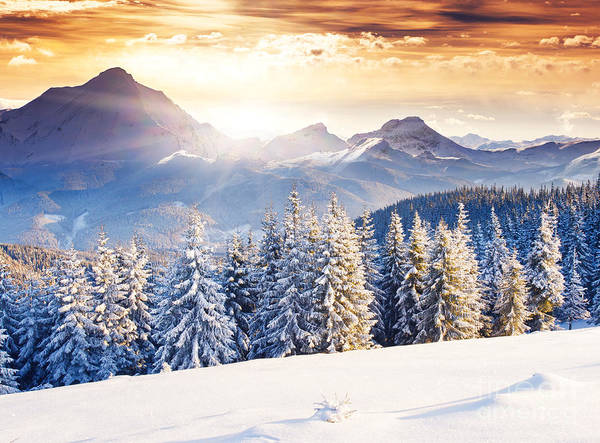 Beautiful Sunrise Photograph - Fantastic Evening Winter Landscape by Creative Travel Projects