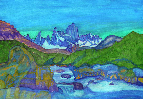 Painting - Fantastic Landscape With Mountain River And Snowy Mountain Peaks by Irina Dobrotsvet
