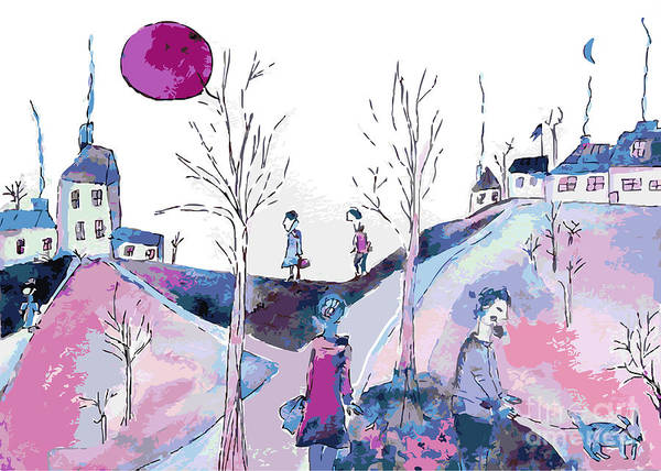 Wall Art - Digital Art - Fantastic Landscape With Sad People And by Tetyana Snezhyk