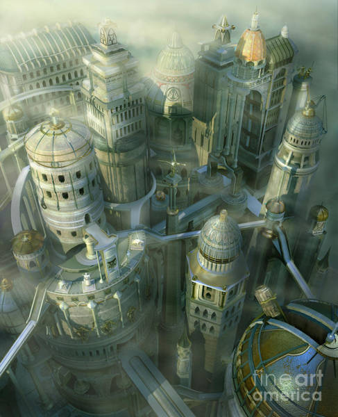 Wall Art - Digital Art - Fantasy 3d City Form Past To Future by Alex Mit
