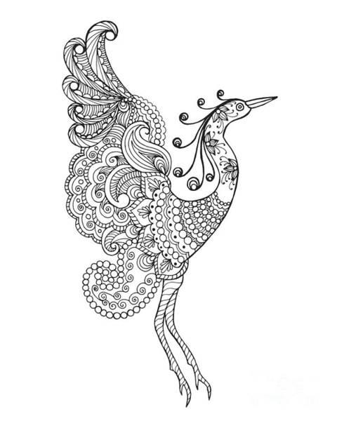 Wall Art - Digital Art - Fantasy Bird. Black White Hand Drawn by Palomita
