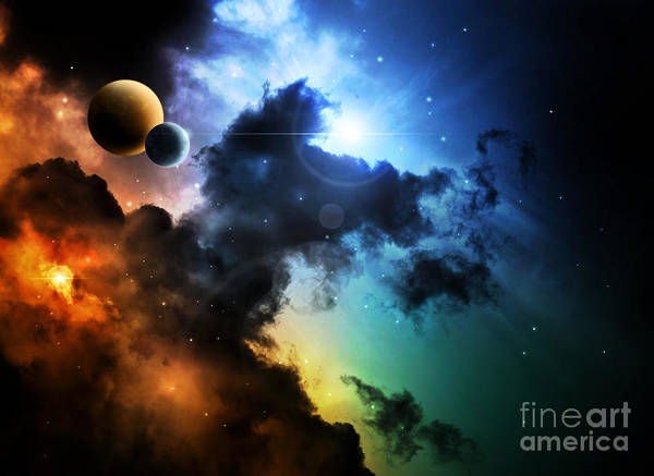 Wall Art - Digital Art - Fantasy Deep Space Nebula With Planet by Homeart
