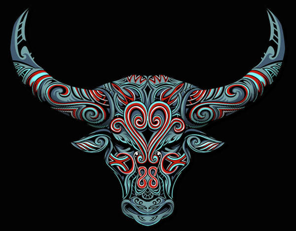 Painting - Fantasy Drawing Horns Cow Bull Dream Catcher Mandala Yoga by Tony Rubino