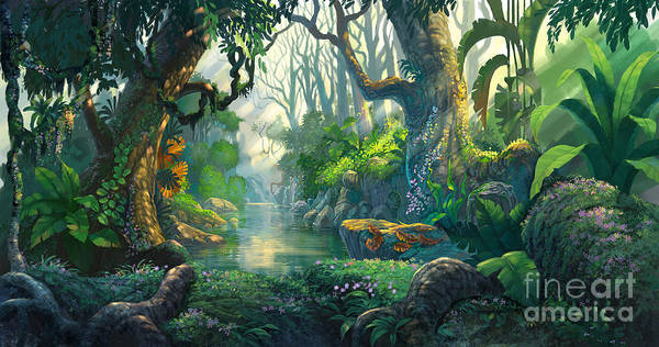 Wall Art - Digital Art - Fantasy Forest Background Illustration by Noreefly