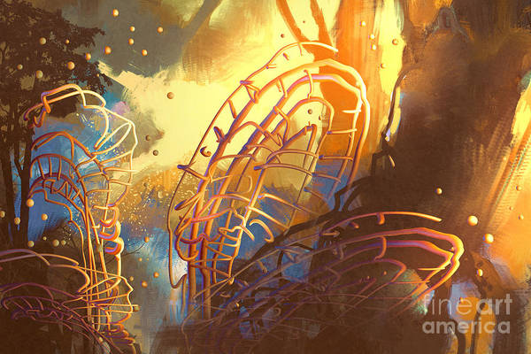 Mystery Digital Art - Fantasy Forest With Abstract by Tithi Luadthong