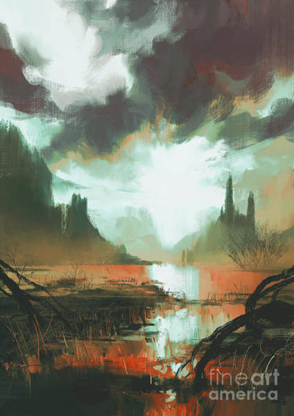 Scenery Digital Art - Fantasy Landscape Of Mystic Red Swamp by Tithi Luadthong
