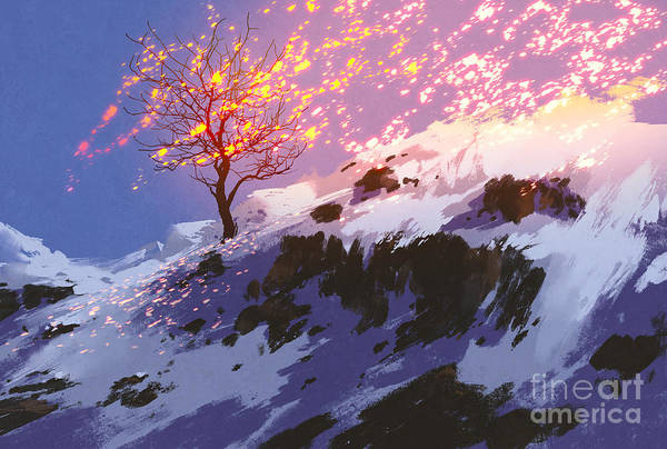 Wall Art - Digital Art - Fantasy Landscape Showing Bare Tree In by Tithi Luadthong