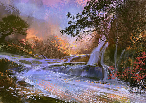 Cascade Mountains Wall Art - Digital Art - Fantasy Landscape With Beautiful by Tithi Luadthong