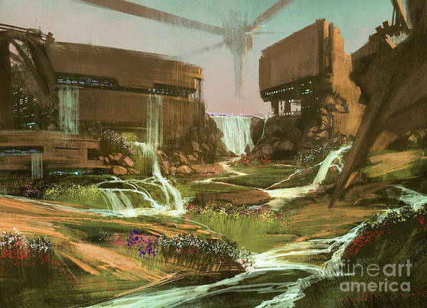 Wall Art - Digital Art - Fantasy Landscape With Waterfall And by Tithi Luadthong