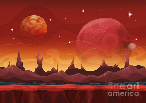 Wall Art - Digital Art - Fantasy Sci-fi Martian Background For by Benchart