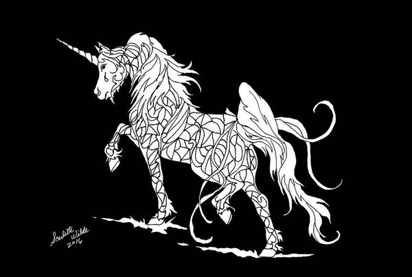 Drawing - Fantasy Unicorn 2 by Scarlette Wilde