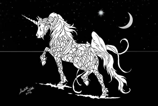 Drawing - Fantasy Unicorn Crescent Moon by Scarlette Wilde