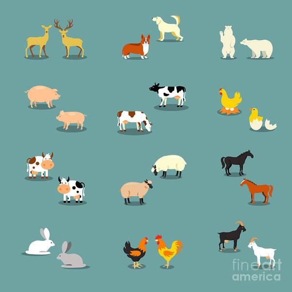 Set Wall Art - Digital Art - Farm Animals And Pets by K N