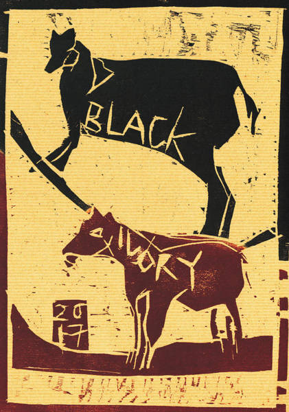 Relief - Farm Animals Black Ivory Woodcut 17 by Artist Dot