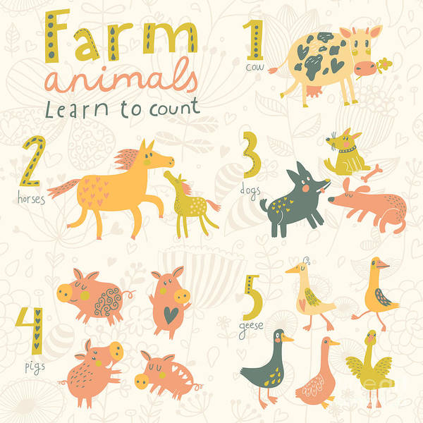 Farm Animals. Learn To Count Part One Art Print