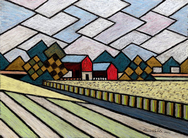 Oil Pastels Drawing - Farm By Ripon Black Lines by Bruce Bodden
