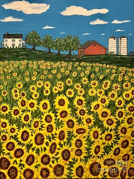 Wall Art - Painting - Farm Country Sunflowers by Jeffrey Koss