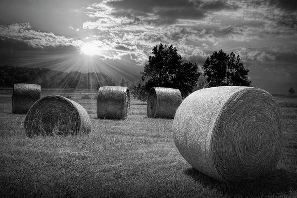 Photograph - Farm Field With Hay Bales At Sunrise In Black And White by Randall Nyhof