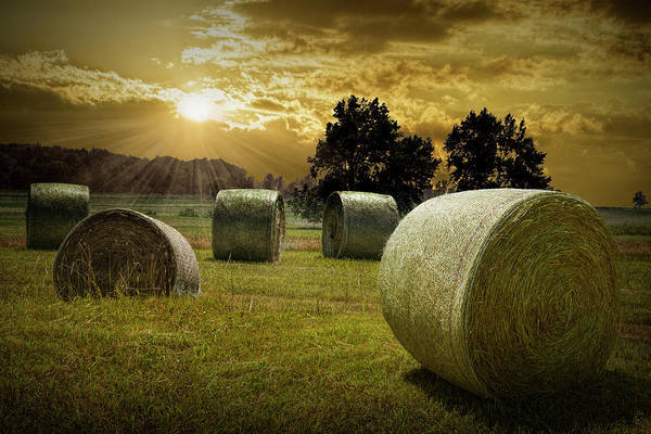 Photograph - Farm Field With Hay Bales At Sunrise In West Michigan by Randall Nyhof