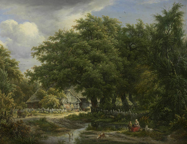 Painting - Farm House Between Trees by Egbert van Drielst