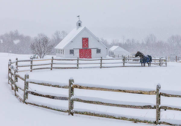 Farm In The Snow Art Print