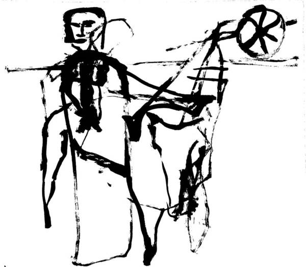 Drawing - Farm Plough by Artist Dot