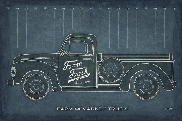 Wall Art - Painting - Farm Truck Blueprint by Sue Schlabach