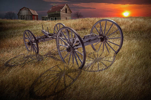 Wall Art - Photograph - Farm Wagon Chassis In A Grassy Field On A Mid West Farm At Sunse by Randall Nyhof