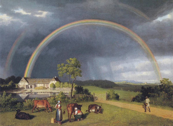 Wall Art - Painting - Farm With Rainbow by Christoffer Ekersburg