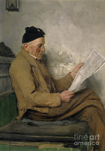 Wall Art - Painting - Farmer Reading On The Stove Bench by Albert Anker