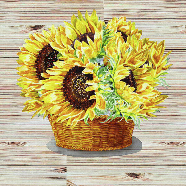 Painting - Farmers Market Basket With Sunflowers  by Irina Sztukowski